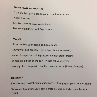 Our January early evening fixed price menu